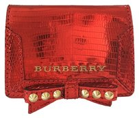 Burberry #0015 BRAND NEW Burberry Lizard Leather Card ID case wallet Metallic Red Studs. Ships Same Day