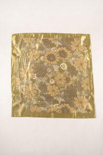 Burberry Burberry Gold Tone Metallic Sheer Floral Scarf