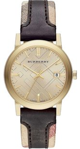 Burberry BU9032 The City Women Watch Gold Tone Haymarket Chocolate Brown Leather