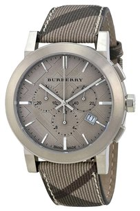 Burberry BU9361 Burberry Watch, Men's Chronograph, Smoke Check Fabric Strap,