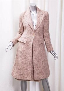 Burberry Burberry Womens Heather Red Cream Tweed Jacket Coatpencil Skirt Suit Outfit