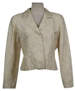 Burberry Burrberrys Of London Womens Creme Floral Blazer Wtw Long Sleeve Jacket