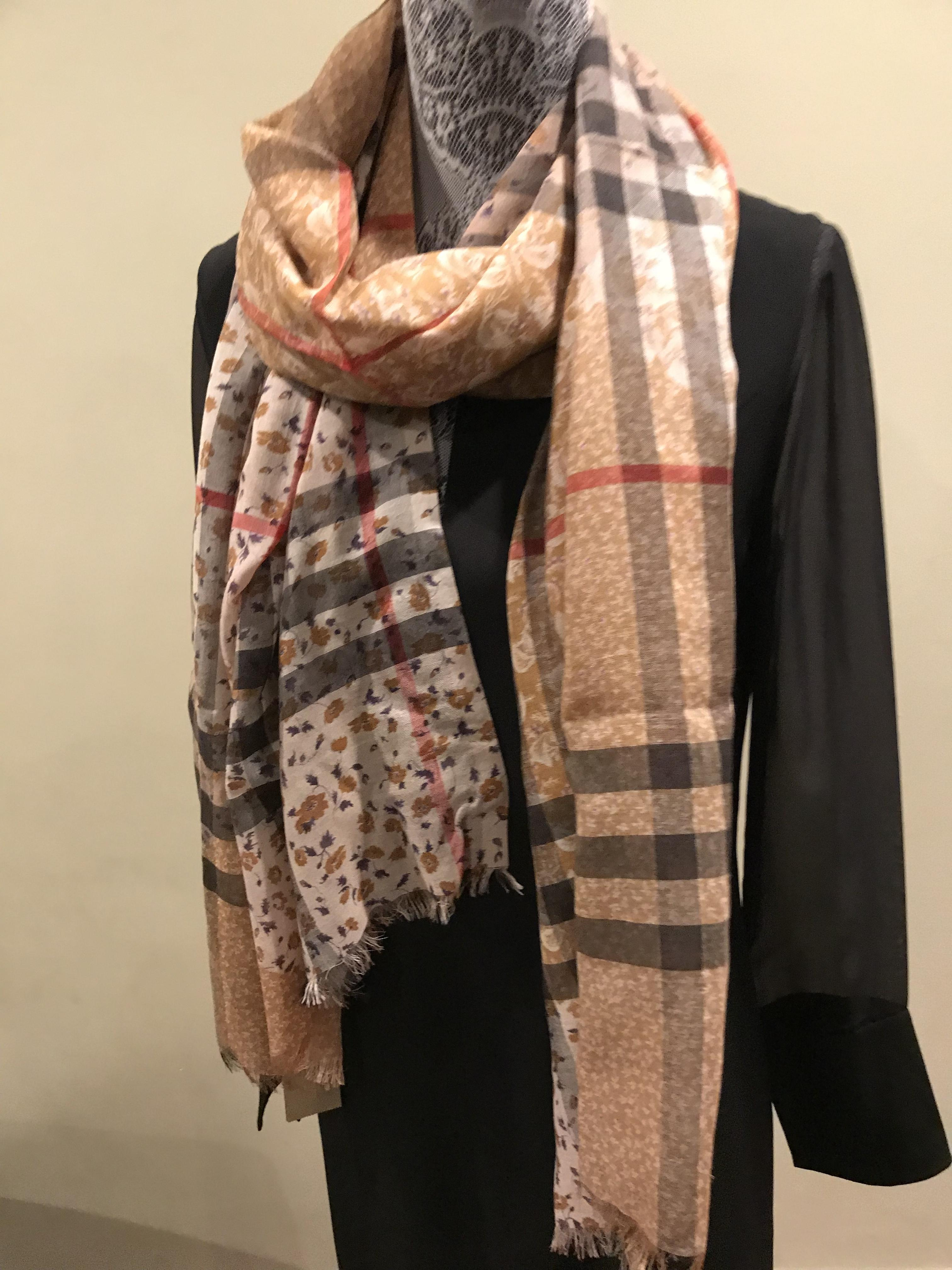538d2a63a ... coupon code for burberry camel new patchwork floral check wool silk scarf  wrap tradesy 56606 968c8