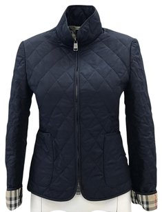 Burberry Classic Quilted Checkered Chic Navy Blue Jacket