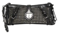 Burberry Hyde Leather Gunmetal Studded Wristlet Long Black Clutch