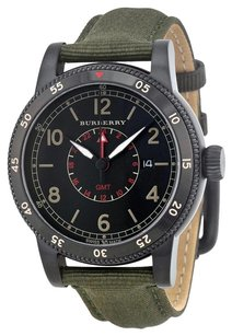 Burberry GMT The Utilitarian Black Dial Olive Green Nylon Men's Watch