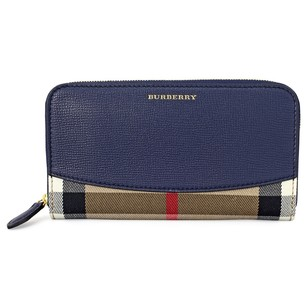Burberry House Check Leather Zip Around Wallet - Ink Blue 3992895
