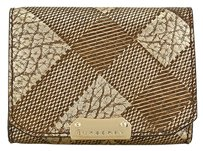 Burberry Lannister Embossed Check Metallic Gold Clutch