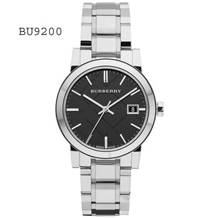 Burberry New Black Check Stamped Dial Stainless Steel Ladies Watch BU9101