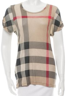 Burberry Nova Check Monogram Cotton Plaid Exploded Check Top Beige, Black