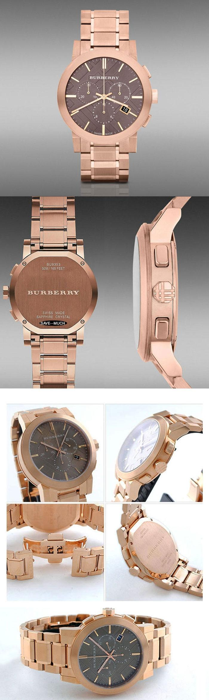 burberry gold chronograph watch