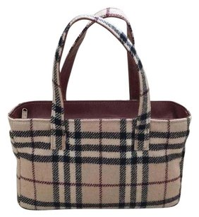 Burberry Satchel in Beige With Black & Red Plaid