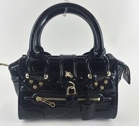 Burberry Quilted Patent Satchel in Black