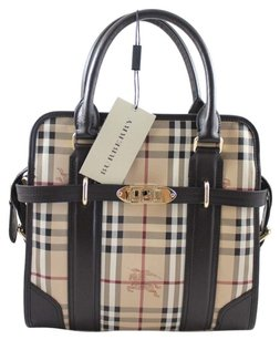 Burberry Leather; 100% Guaranteed Or Your Money Back! Satchel in Chocolate/Beige