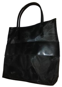 Burberry Breathable Leather Imprinted Logo Tote in Black