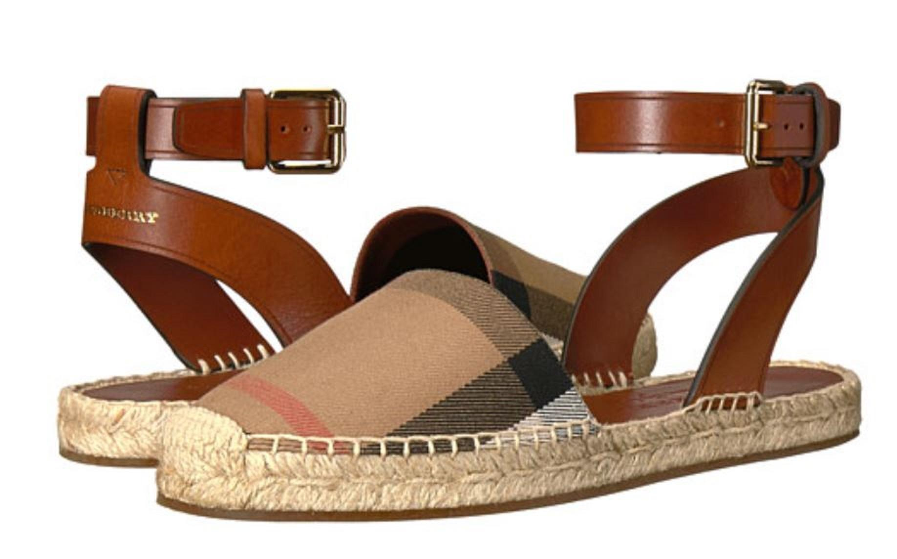 Burberry Espadrille Abbie Signature Check with Leather Trim Sandals ...