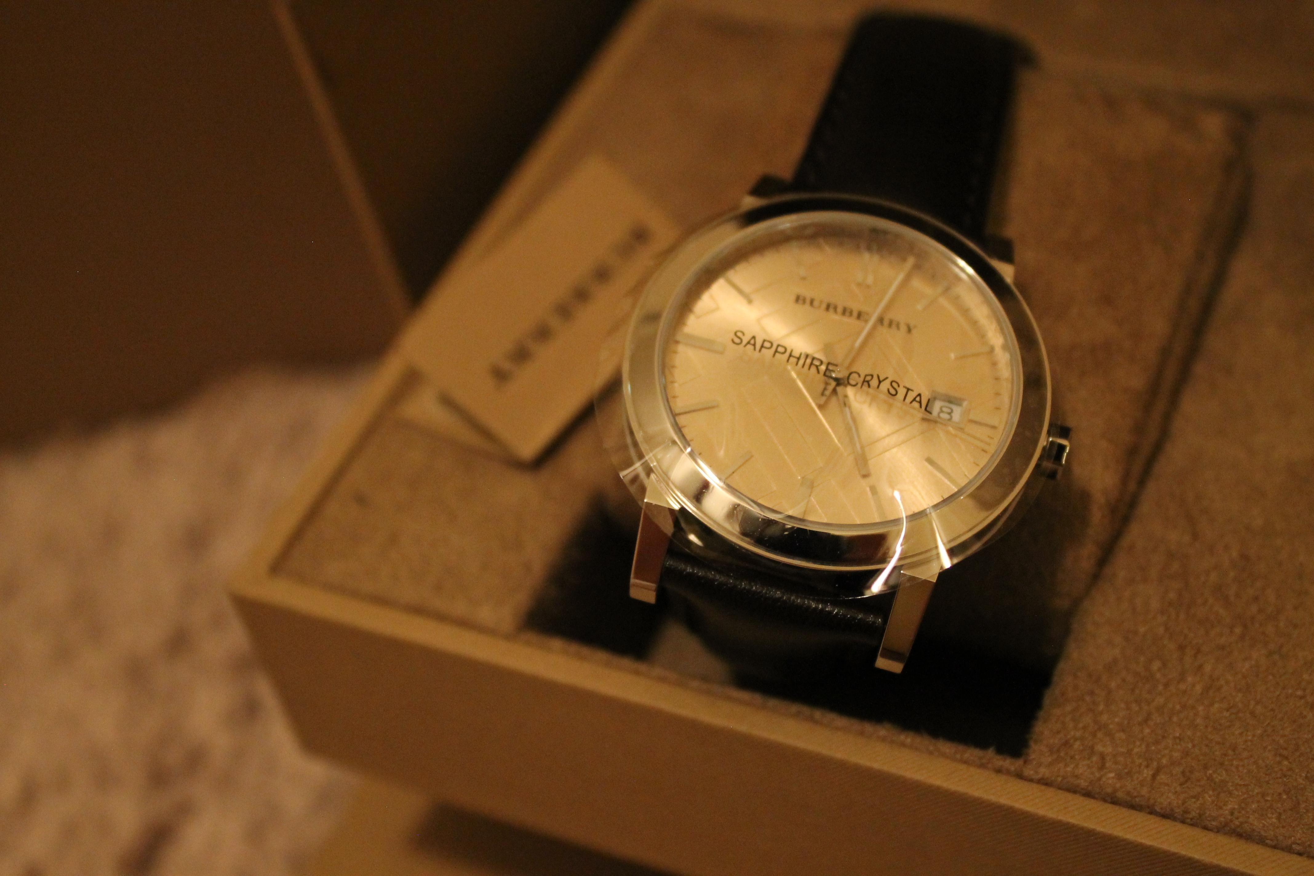 burberry check stamped watch