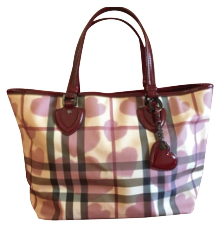 burberry bags outlet l5sr  Burberry Patent Leather Supernova Canvas Heart Large Tote Bag outlet