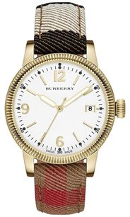 Burberry Women's The Utilitarian House Check Gold Steel White Dial Watch