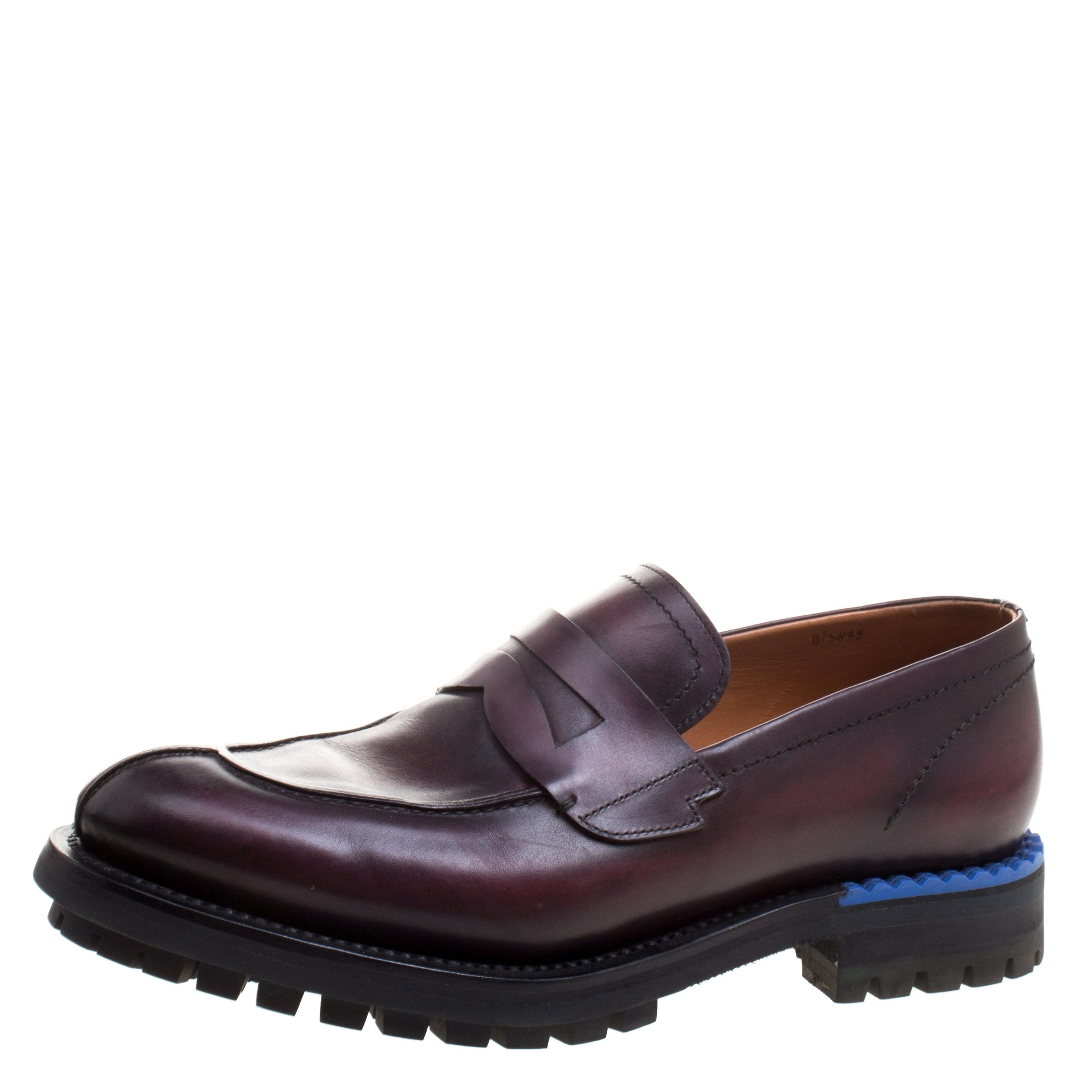 Burgundy Two Tone Leather Penny Loafers Formal Shoes Shoes