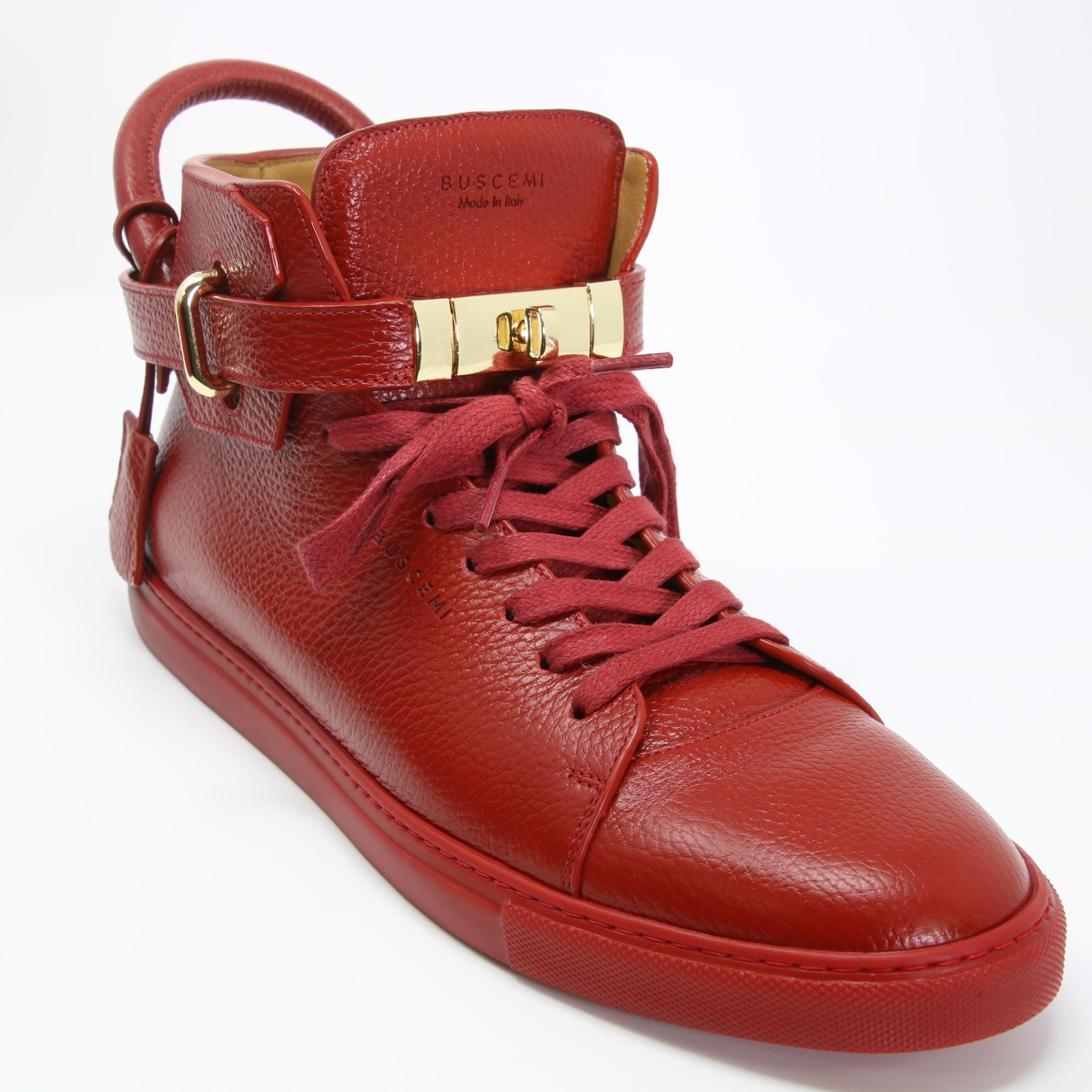 100 MM High Top Leather Sneakers in Red. - size 12 (also in 10,8,9) Buscemi