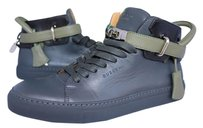Buscemi Silver Silver Hardware Leather High Top Sneakers Blue Athletic