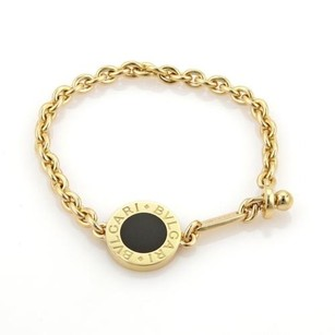 BVLGARI Bulgari Bvlgari 18k Yellow Gold Black Onyx Circle Charm Chain Bracelet