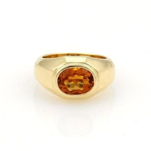 BVLGARI Bulgari Bvlgari 2ct Oval Citrine 18k Yellow Gold Solitaire Ring