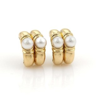 BVLGARI Bulgari Bvlgari Pearls 18k Yellow Gold Fancy Double Hoop Earrings