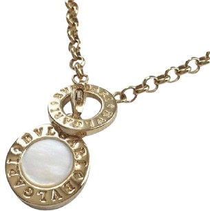 BVLGARI BULGARI Gold Steel & Mother of Pearl Disc Necklace