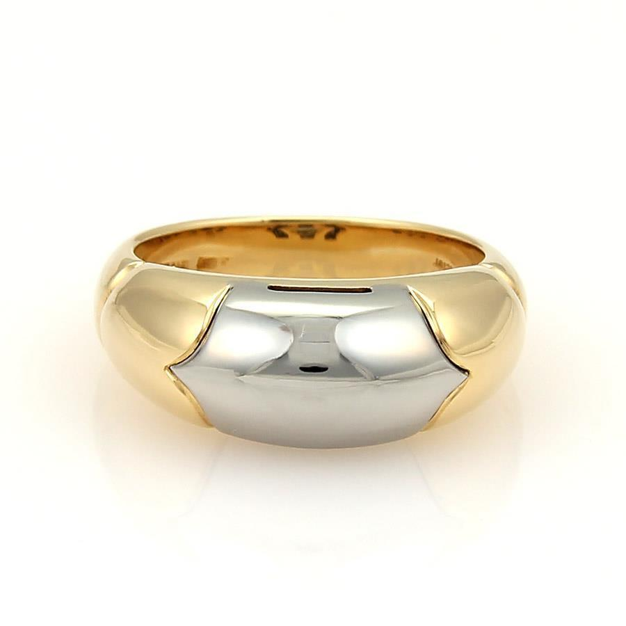 bvlgari bulgari tronchetto 18k yellow gold u0026 steel band ring size 55