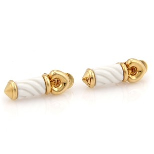 BVLGARI Bvlgari Bulgari 18k Yellow Gold White Ceramic Dangle Earrings