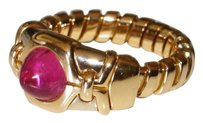 BVLGARI Bvlgari Bulgari Tubogas Pink Tourmaline 18k Gold Adjustable Gold Ring