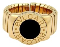 BVLGARI Bvlgari Bulgari Tubogas 18k Yellow Gold Onyx 9mm Wide Band Ring