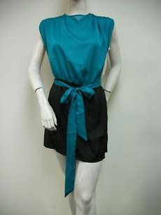 C. Luce Color Block Black Teal Dress