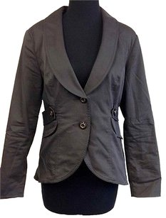 CAbi Cabi Black Cotton Long Sleeve Front Button Collared Lined Blazer O474