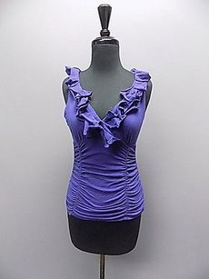 CAbi Sleeveless V Neck Ruffled Neck Shirred Solid 064a Top Purple