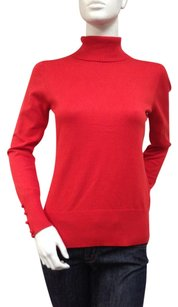 Cable & Gauge Turtleneck Top Red