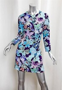 Cacharel short dress Blue Floral Mod Long Sleeve Shift Rt on Tradesy