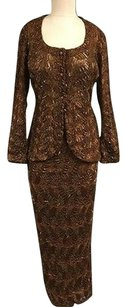 Cache Cache Brown Beaded Button Up Jacket P With Side Slit Skirt Sma12416