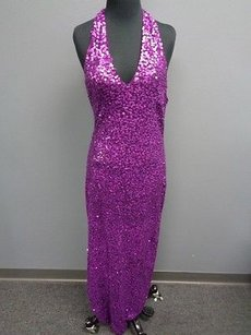 Purple Maxi Dress by Cache Grape Nylon Lined Full Length Sequined Formal Sma3356