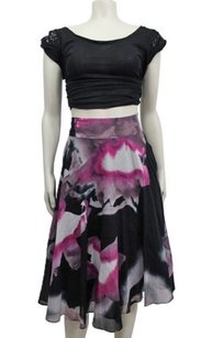Calvin Klein Print Tie Skirt Black Purple