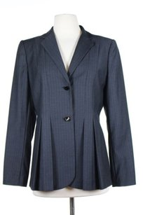 Calvin Klein Calvin Klein Womens Gray Blue Striped Blazer Long Sleeve Polyester Blend