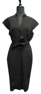 Calvin Klein Cap Sleeved V Neck Belted Button Down 3095a Dress