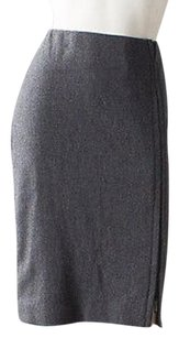 Calvin Klein Collection Dark Wool Blend Straight Pencil Hs1444 Skirt Gray