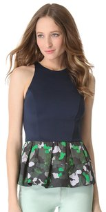 Camilla and Marc Peplum Camouflage Flare Fitted Scuba Top Navy, Green, White