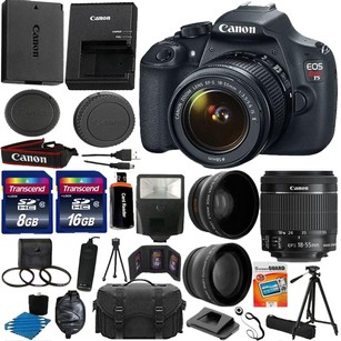 Canon Canon EOS Rebel T5 1200D SLR Camera + 3 Lens 18-55 IS +24GB KIT & More