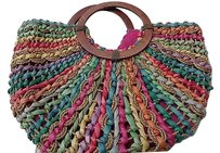 Capelli New York Straw Beach B3157 Tote in Green Pink And Orange