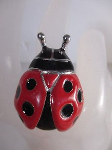Cra Couture Jewelry Cara York Enamel Ladybug Silver Stretch Bracelet