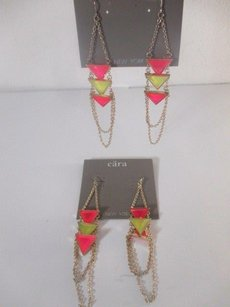 Cära Couture Jewelry Cara York Neon Yellow Pink Triangle Stone Gold Chain Dangle Earrings